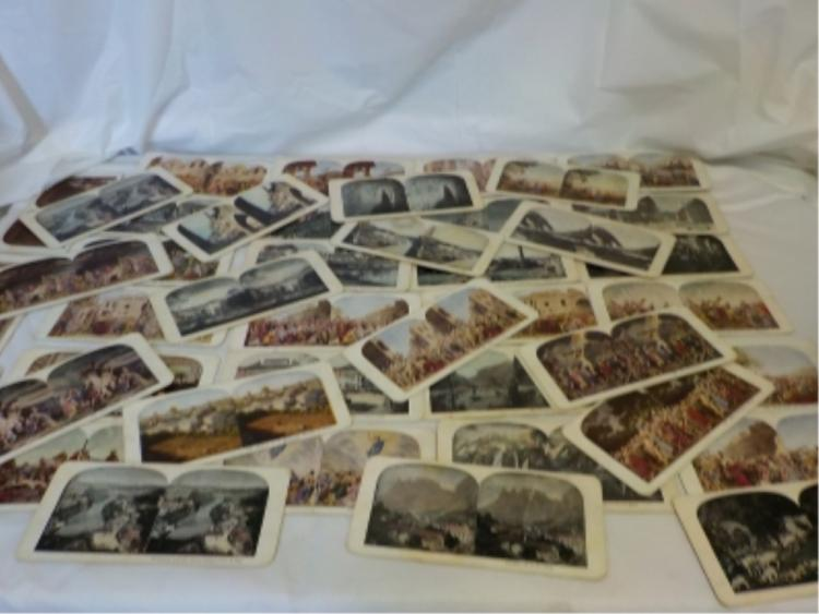 ~40 Colored Stereo View Cards Places, Frescos
