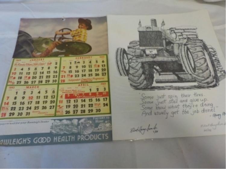Rawleigh's Health Calendar 1943 John Deere