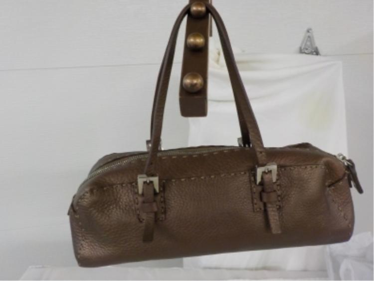 FENDI Brown Leather Roll Style Handbag