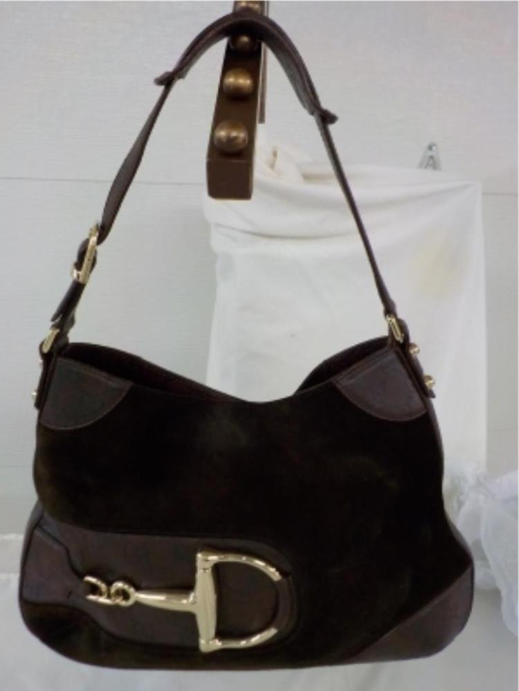 GUCCI Brown Suede & Leather Handbag