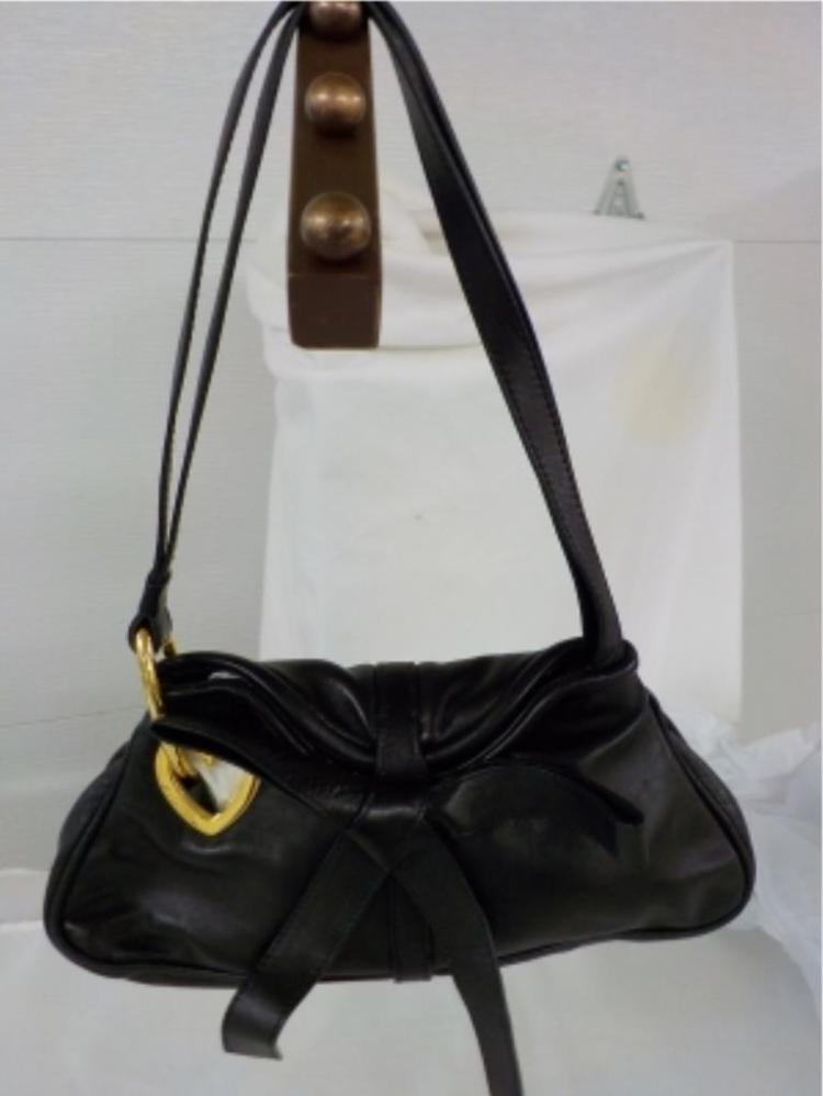 MOSCHINO Black Leather Handbag with Bow