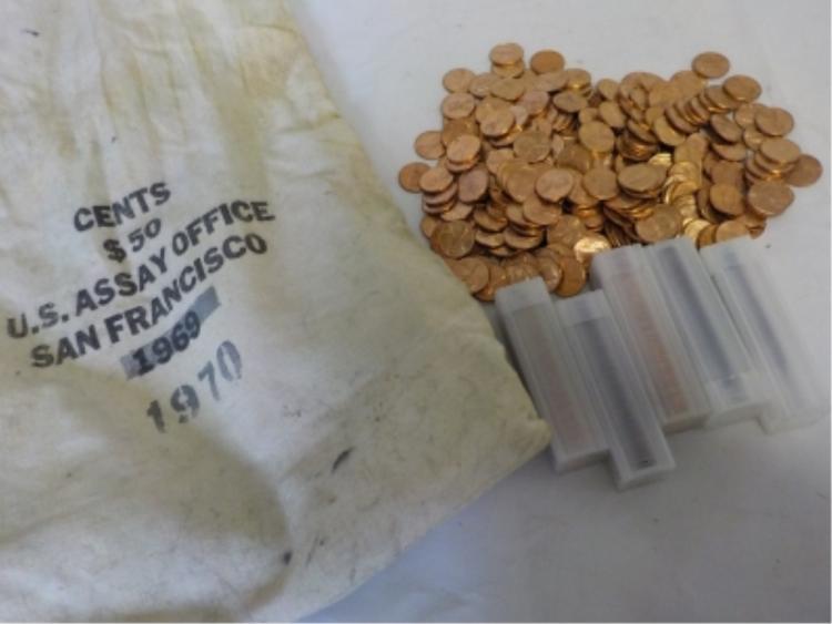 ~58.s oz of 1970S Pennies -San Francisco Assay Bag