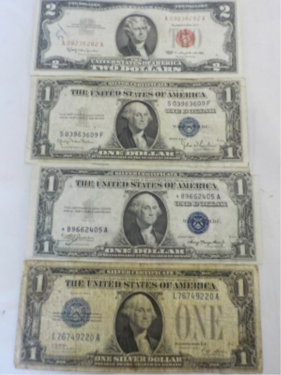 Red $2 Bill & 3 $1 Silver Certificates
