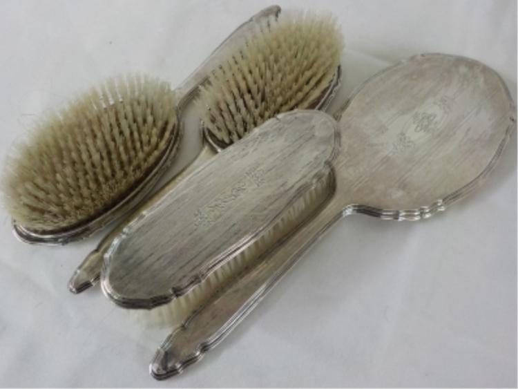 4 Piece Sterling Silver Vanity Set Mirror, Brushes