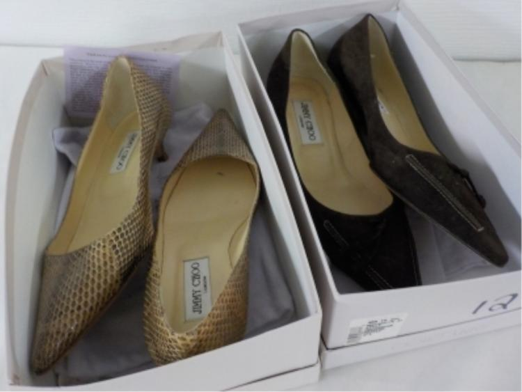 2 Pr Jimmy Choo Shoes Snake/Brown Suede 37 1/2