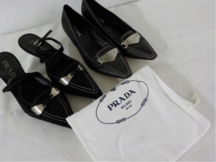 2Pr PRADA Black Leather/Suede Shoes 37
