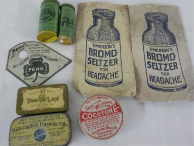 Medicine Tins & Pamphlets Cocotone, Tak-A-Lax