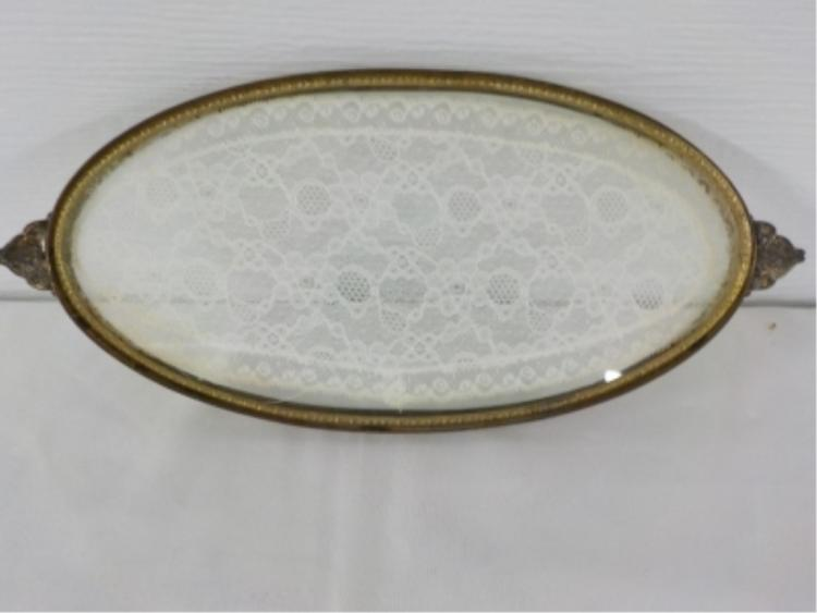 Oval Metal & Glass Tray with Lace Insert