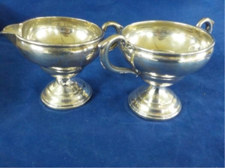 Sterling Silver Cream & Sugar Bowl 6.485 ozt