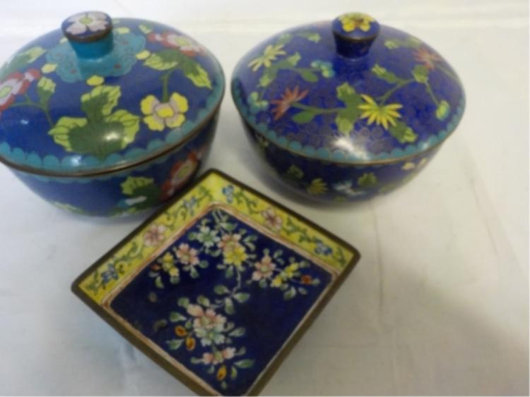 3 China Cloisonné Bowls and Tray