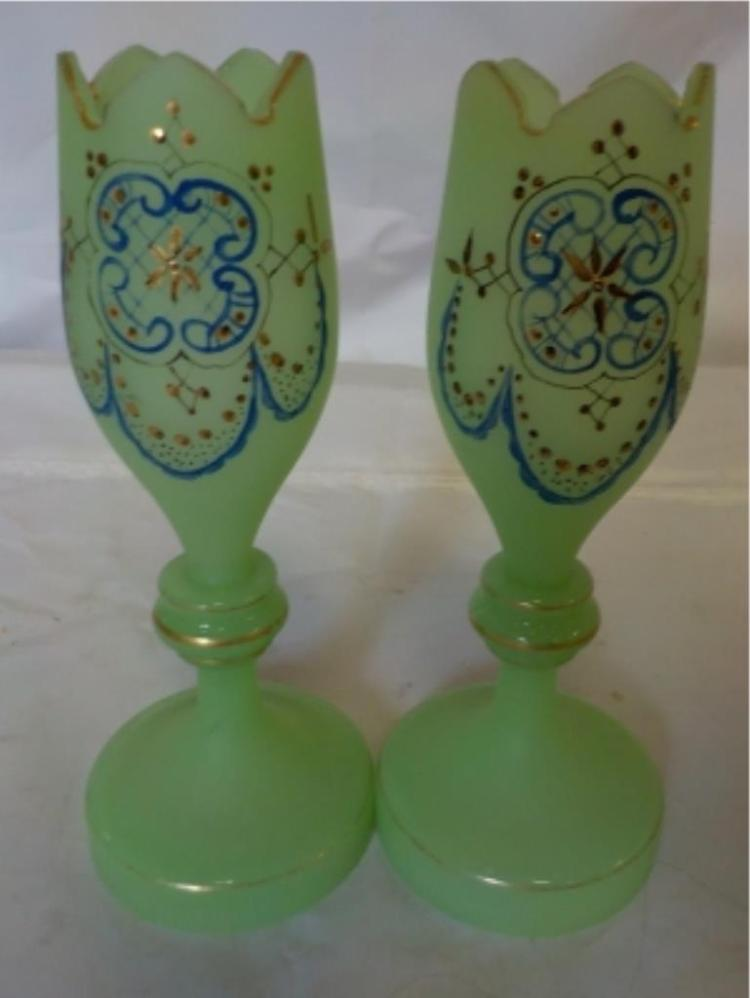 Green Hand Painted Vases 7