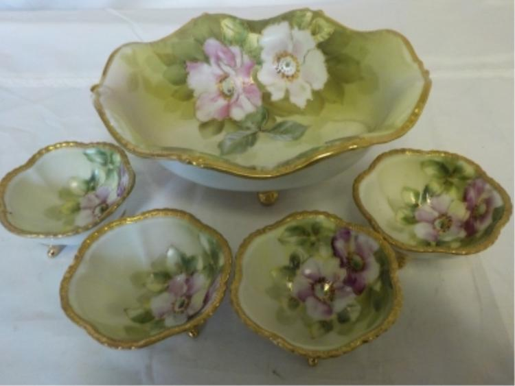 Nippon Hand Painted Nut Set with 4 Bowls