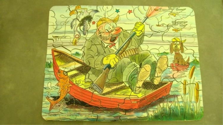 1933 Akron Paper Puzzle Fisherman, Dog, Ducks