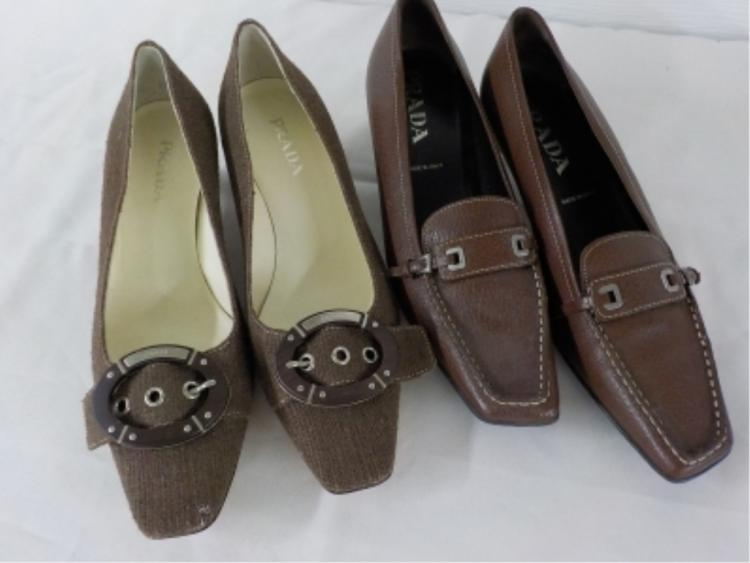 2 Pr PRADA Shoes Brown Weave & Leather 37