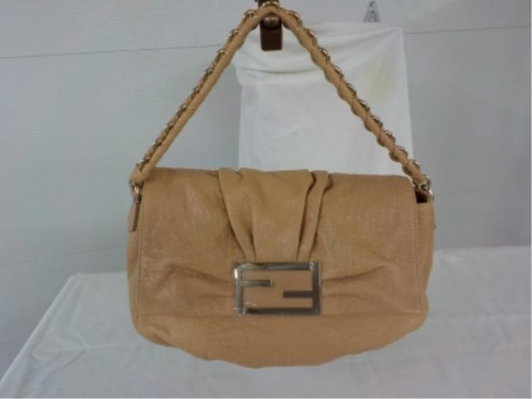 Fendi Tan Leather Handbag - Never Used - 1980's