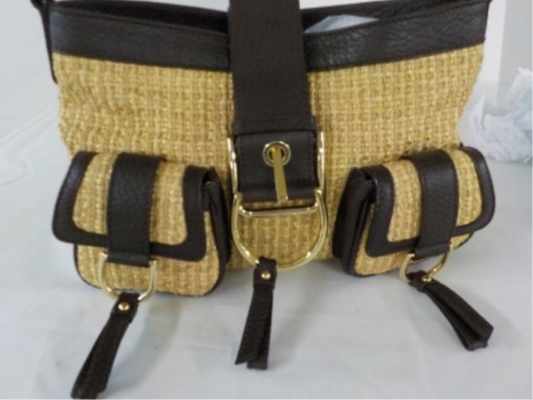 Dolce & Gabbana Woven/Brown Leather Handbag