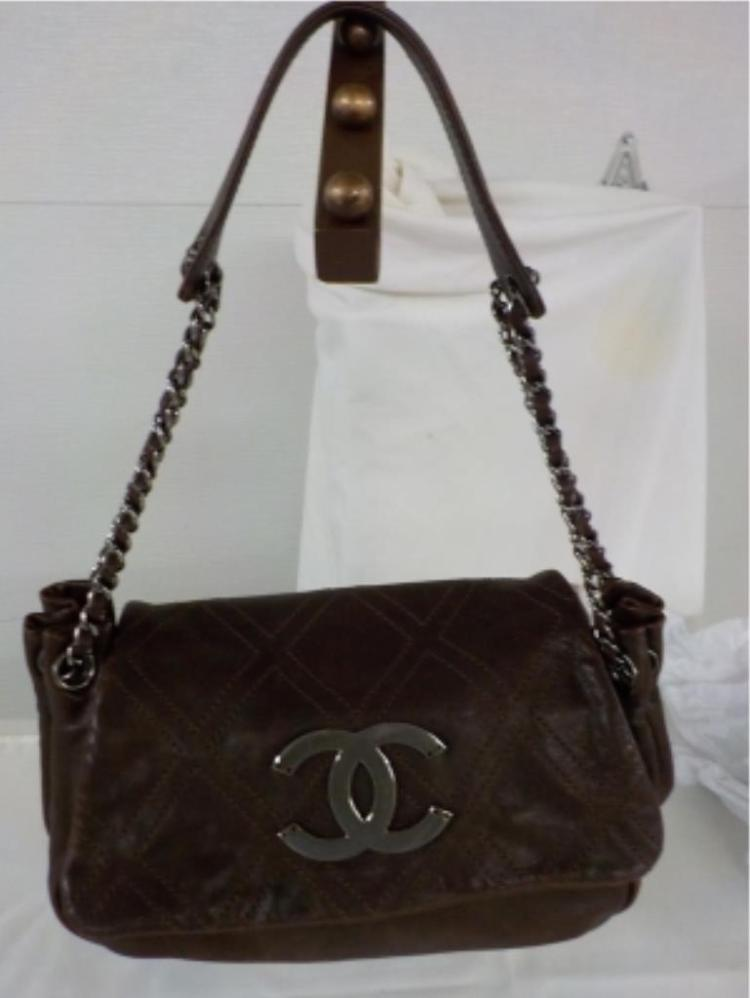 COCO CHANEL Brown Leather Handbag