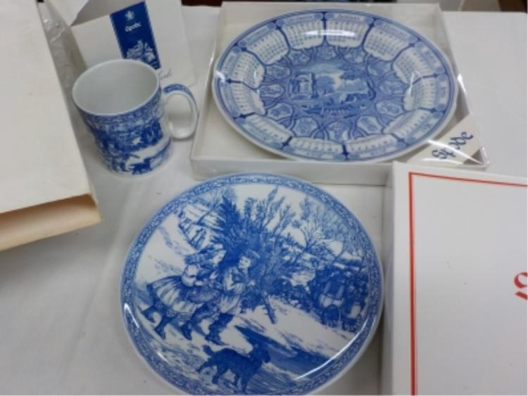 Spode 1996 Blue Room 2 Plates 1 Mug in Boxes