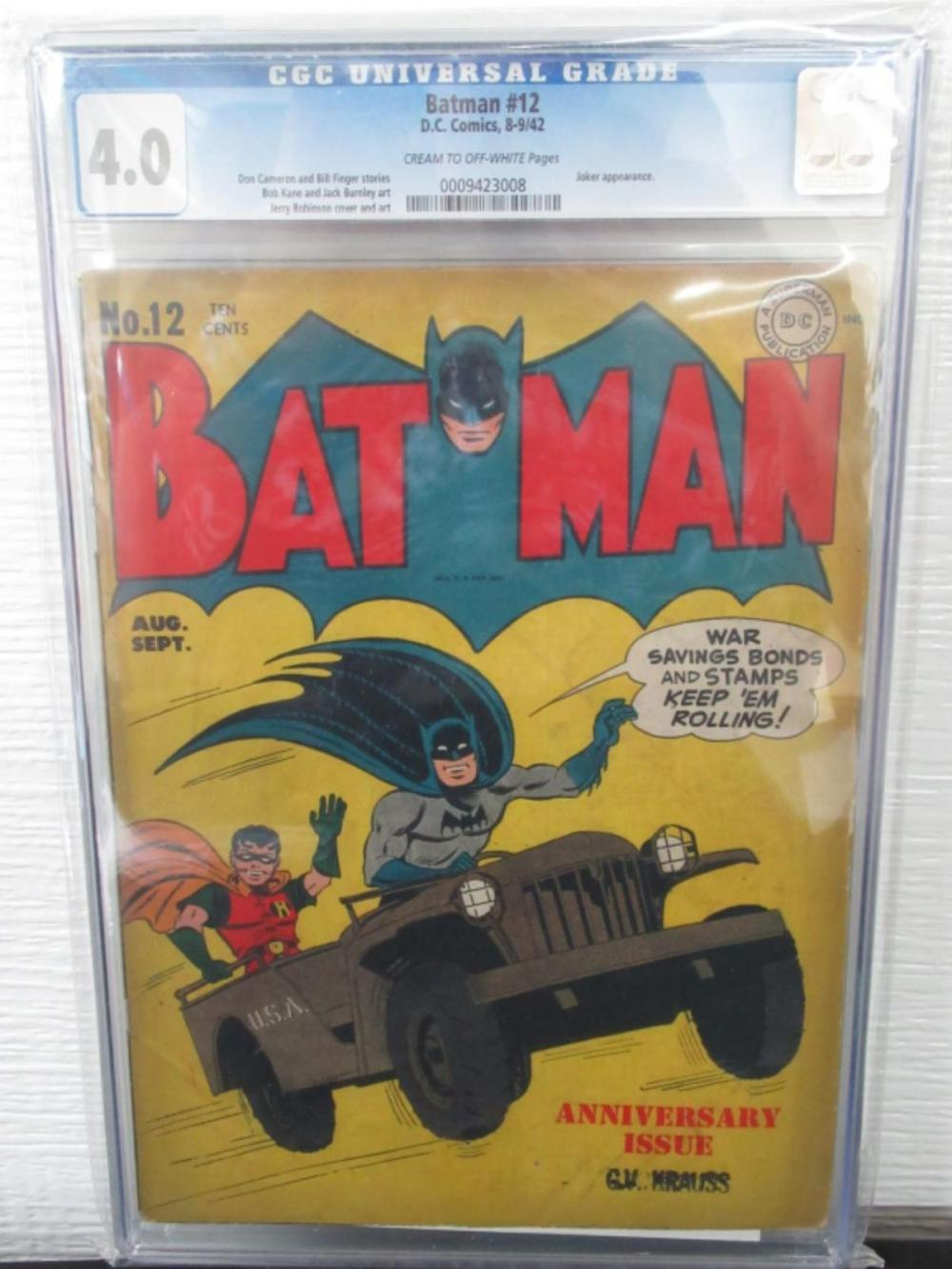 Lot 28: Batman #12 CGC 4.0 Joker Appears