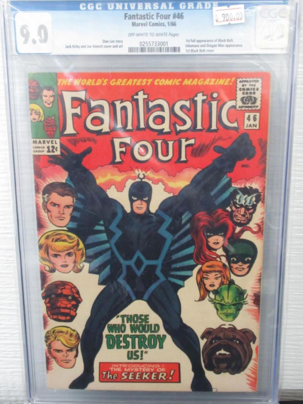 Lot 59: Fantastic Four #46 CGC 9.0 1st full Black Bolt
