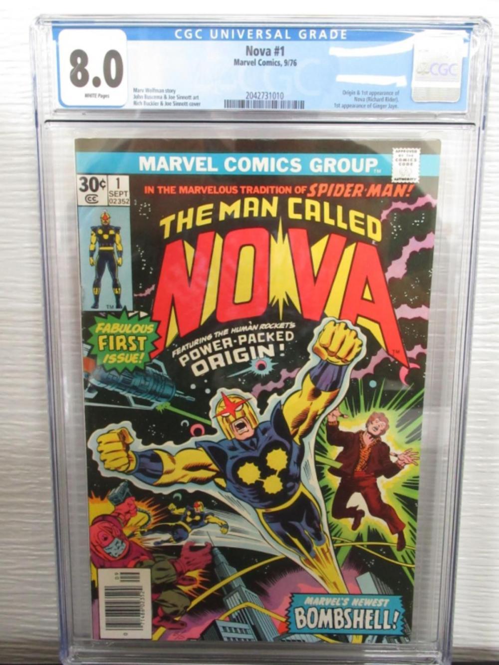 Nova #1 CGC 8.0 Origin & 1st Nova, Ginger Jaye