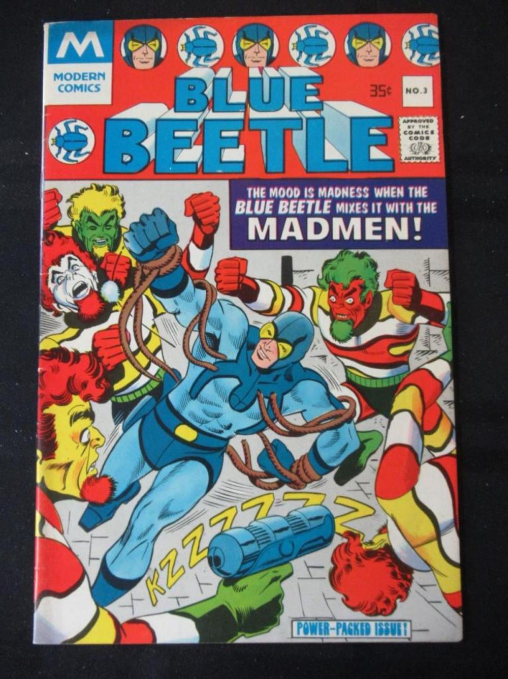 Blue Beetle 35c #3 Mixes it with the Madmen
