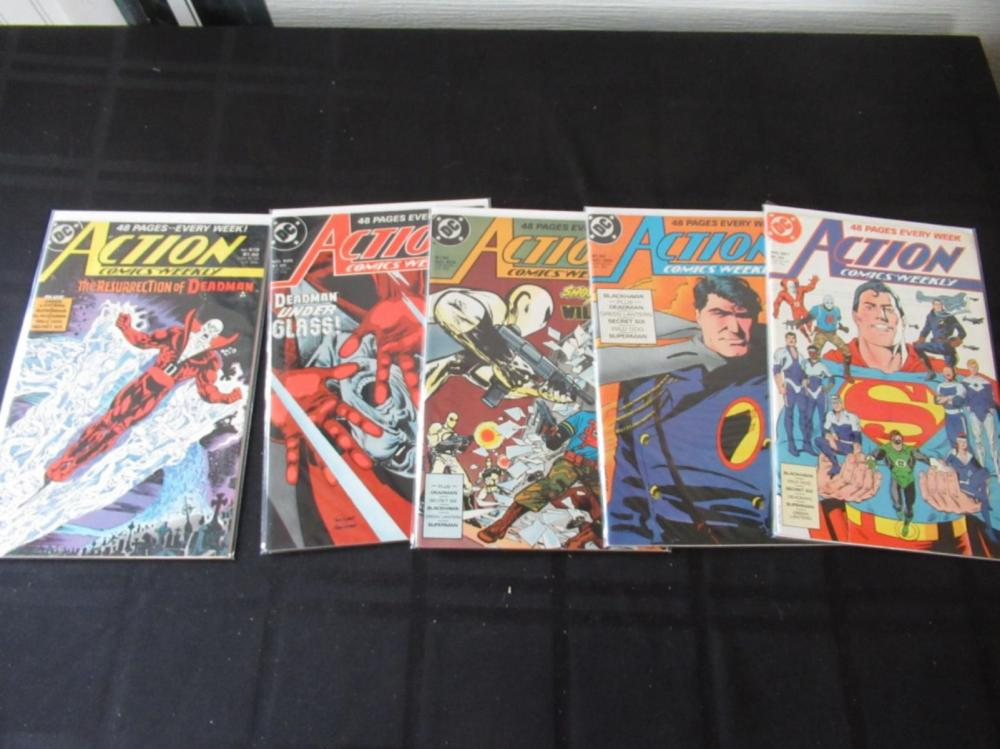 Lot 127: Action Comics Weekly 601, 603, 604, 605, 619