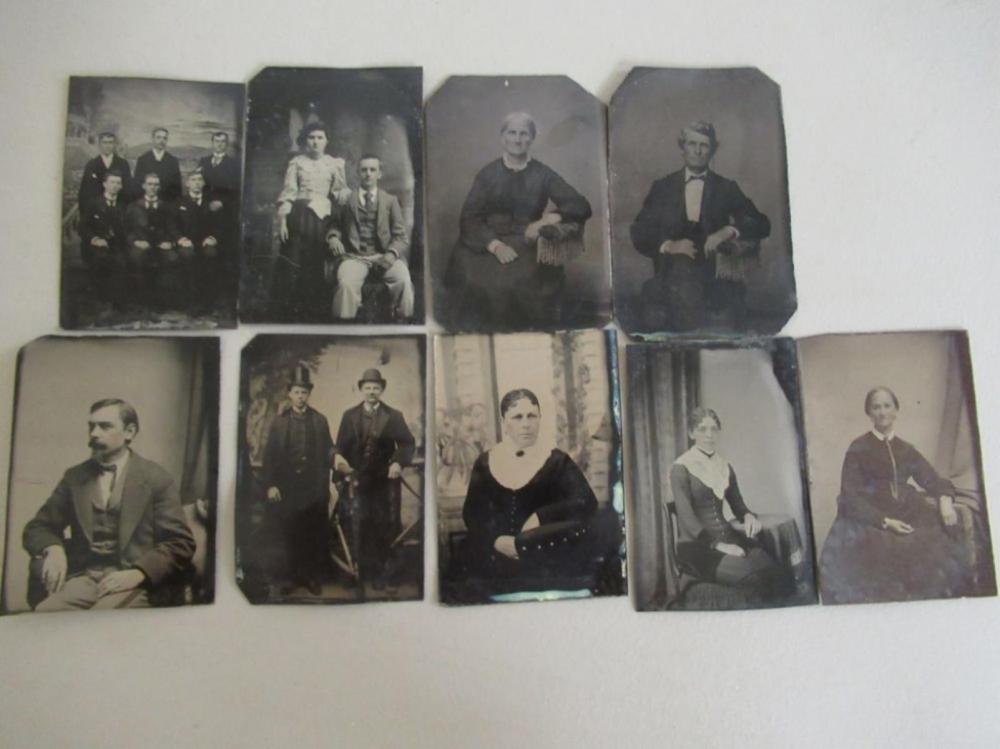 9 Tin Type Photos Scholars, Woman, Men, Couple