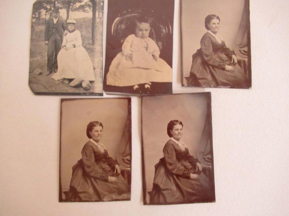 5 Tin Type Photos Baby, Woman, Couple