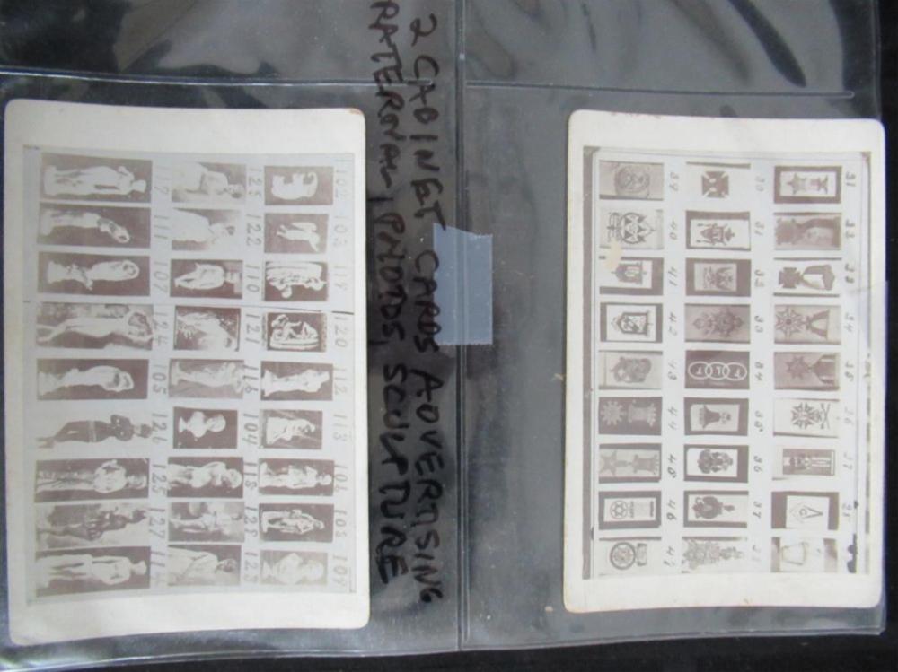 2 Cabinet Cards Advertising Fraternal, Sculptures