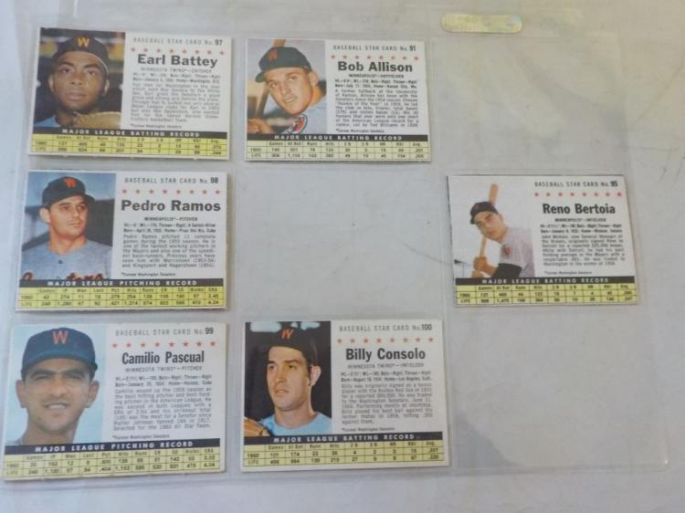 6 1961 Post Cereal Baseball Cards Washington