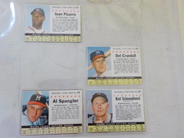 4 1961 Post Cereal Baseball Cards Milwaukee