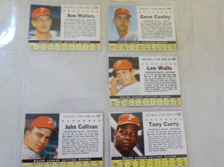 5 1961 Post Cereal Baseball Cards Philadelphia