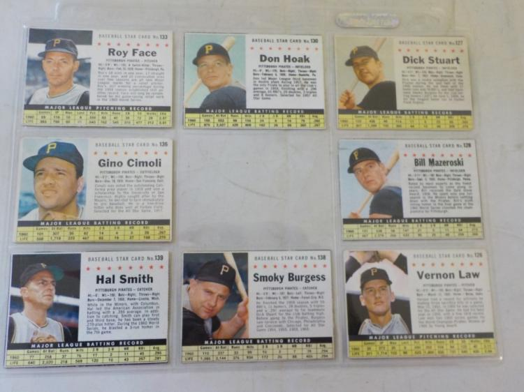 8 1961 Post Cereal Baseball Cards Pittsburg