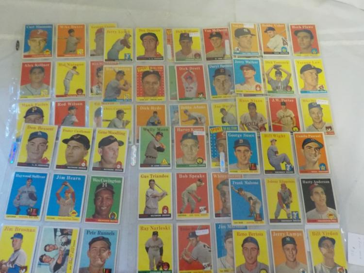 63 1958 TOPPS Baseball Cards most EX