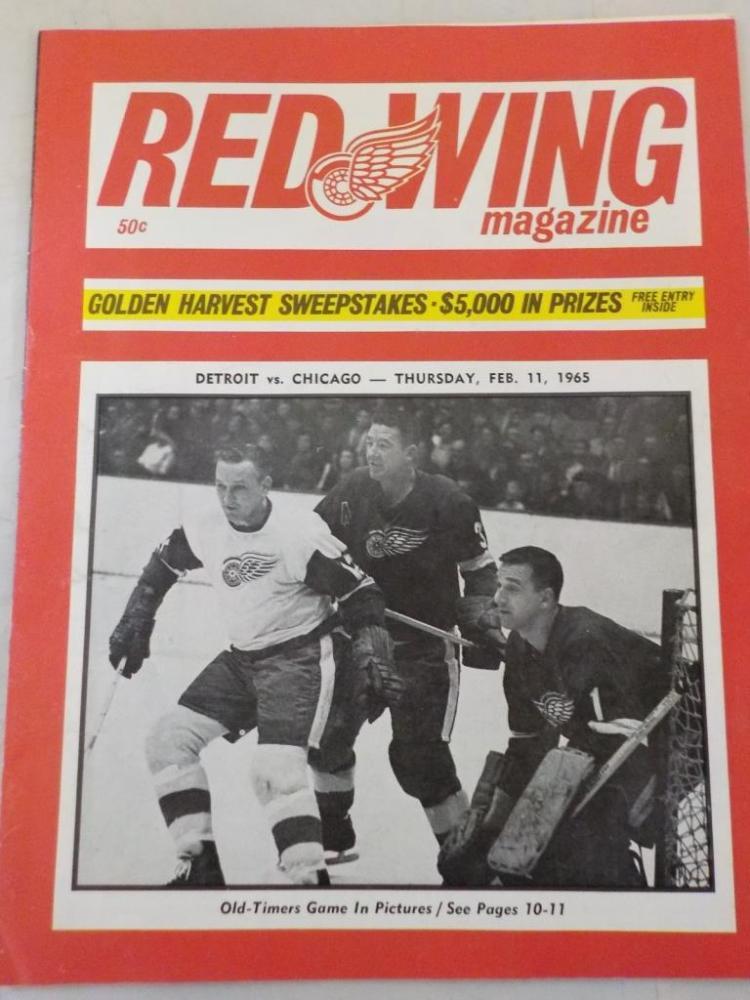 Red Wings Vs Black Hawks Game Program 2/1/1965