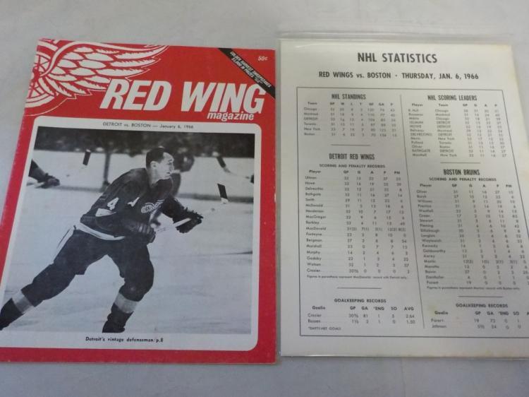 Red Wings Vs Bruins Game Program 1/6/1966
