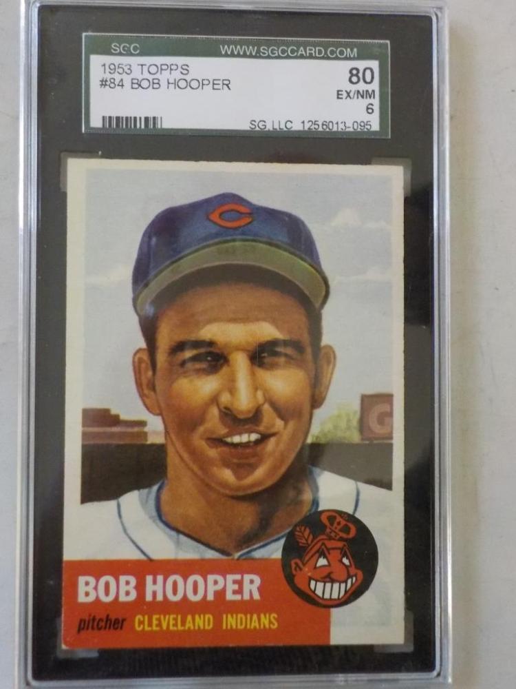 1953 TOPPS Bob Hooper Baseball Card #84 SGC 80