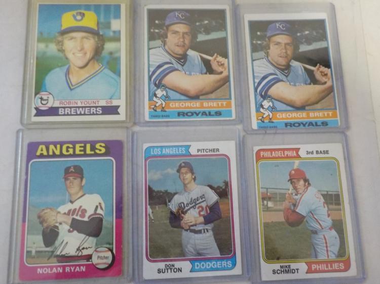 6 TOPPS Mid-1970's Off Grade Superstar Baseball