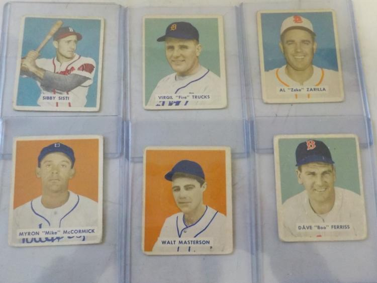 6 1949 Bowman Baseball Cards High Numbers