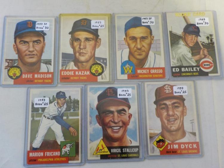 7 1953 TOPPS Baseball Cards VGEX-EX+
