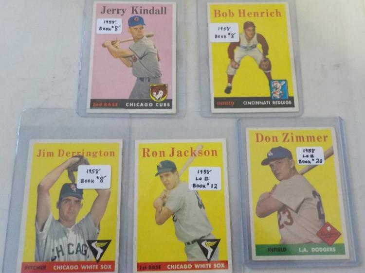5 1958 TOPPS Baseball w Don Zimmer (EXM)