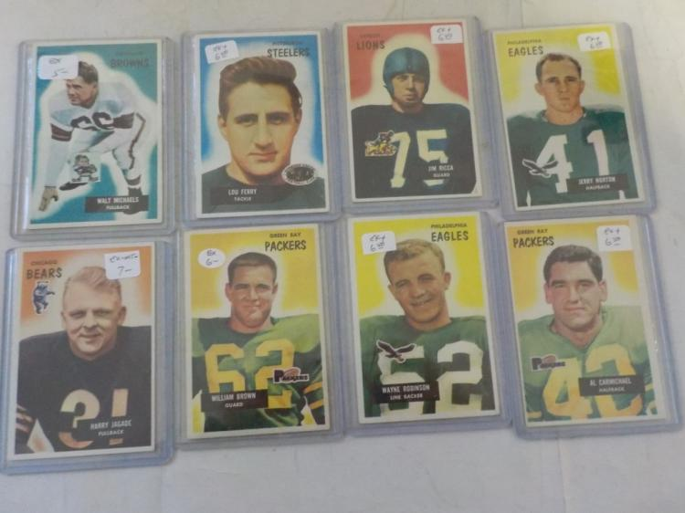 8 1955 Bowman Football cards all high numbers EX-M