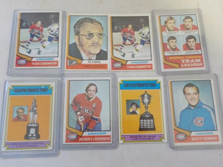 8 1974-75 TOPPD Hockey Cards Mostly Canadiens