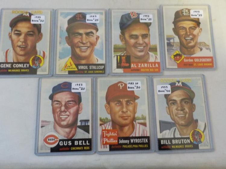 7 1953 TOPPS Baseball Cards EX+ - NM