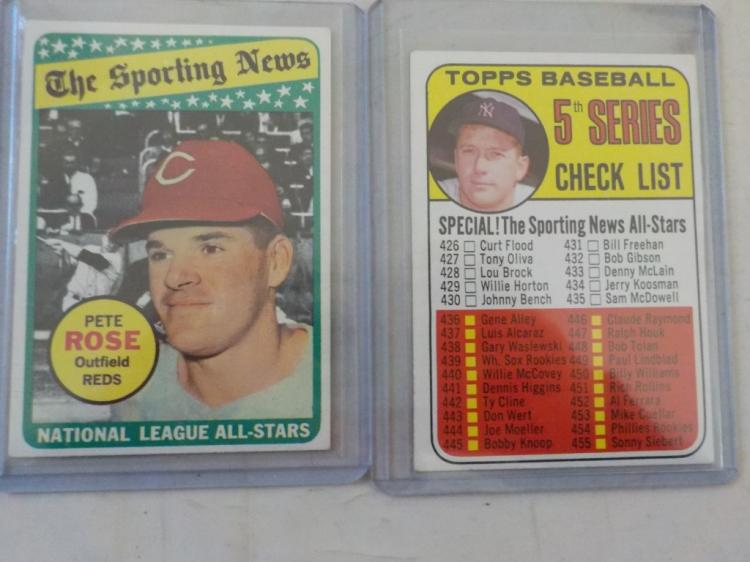 2 1969 TOPPS Pete Rose All-Star Mickey Mantle