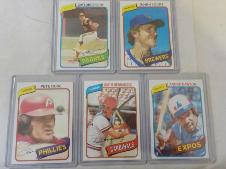 5 1980 TOPPS Baseball Stars w Rose NM+