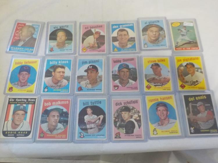 18 1959 TOPPS Baseball Cards EX+-EXM