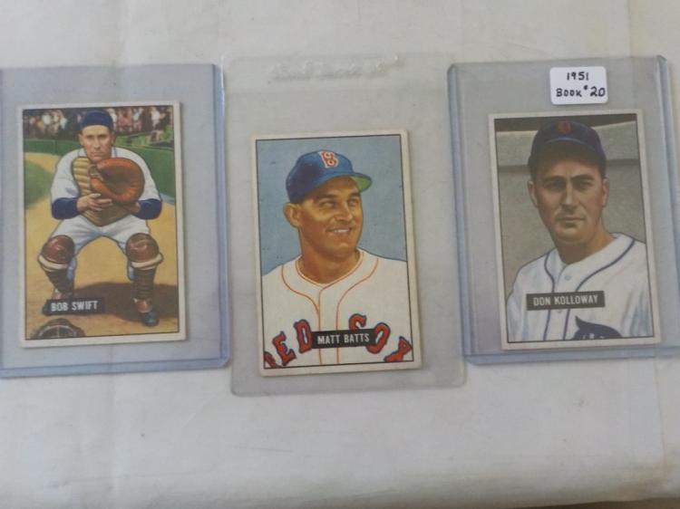 3 1951 Bowman Baseball Cards EX+-EXM