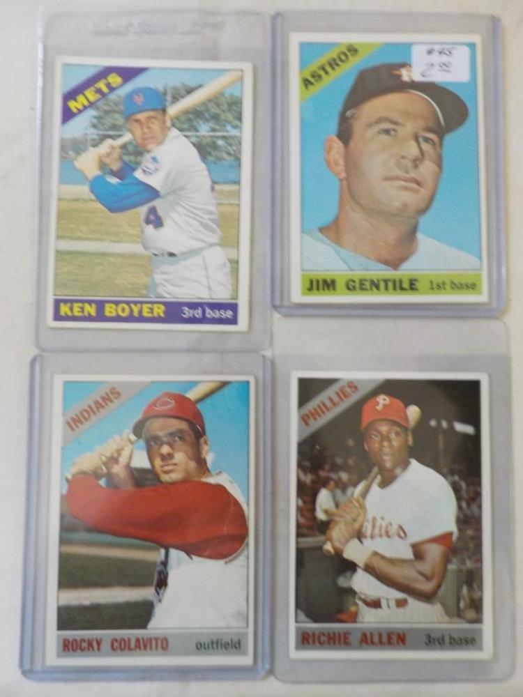 4 1966 TOPPS Baseball Stars Cards EX-M